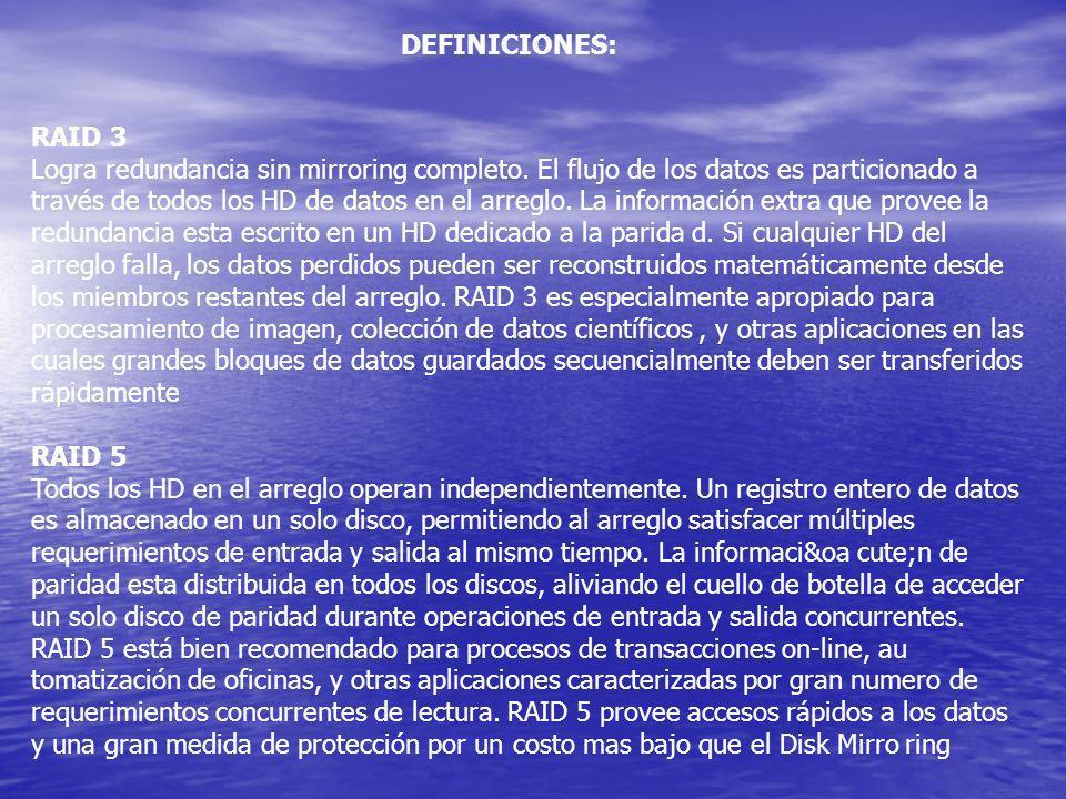 DEFINICIONES: RAID 3.