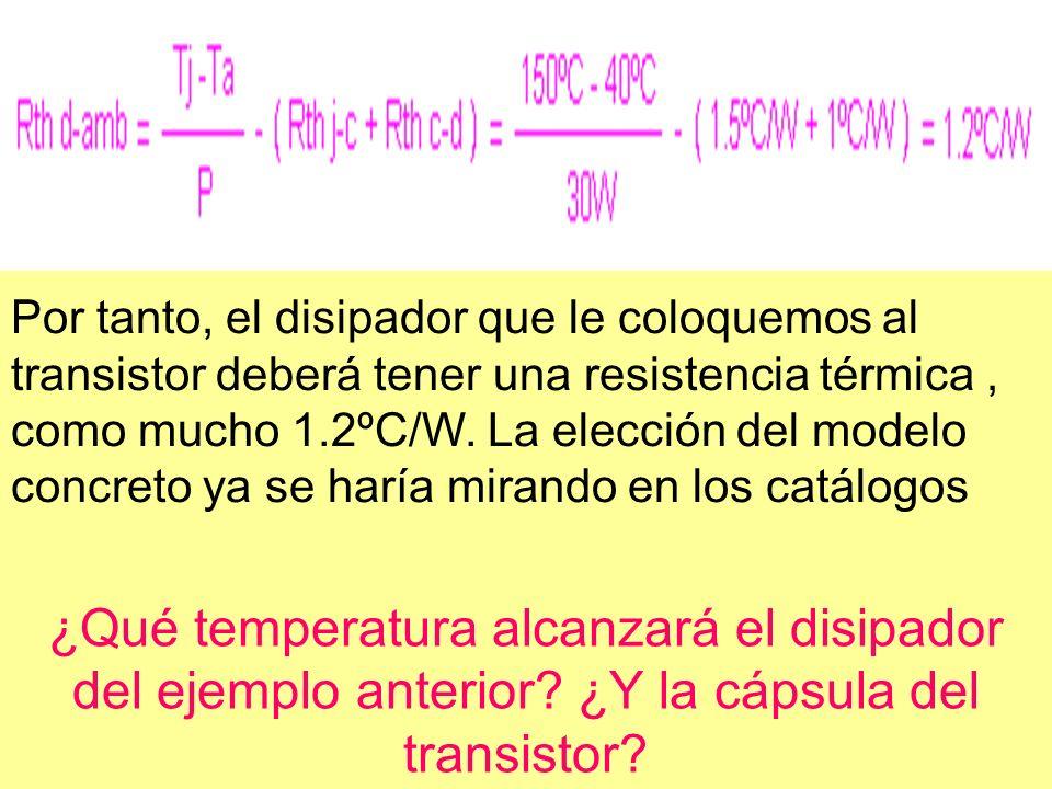Por tanto, el disipador que le coloquemos al transistor deberá tener una resistencia térmica , como mucho 1.2ºC/W. La elección del modelo concreto ya se haría mirando en los catálogos