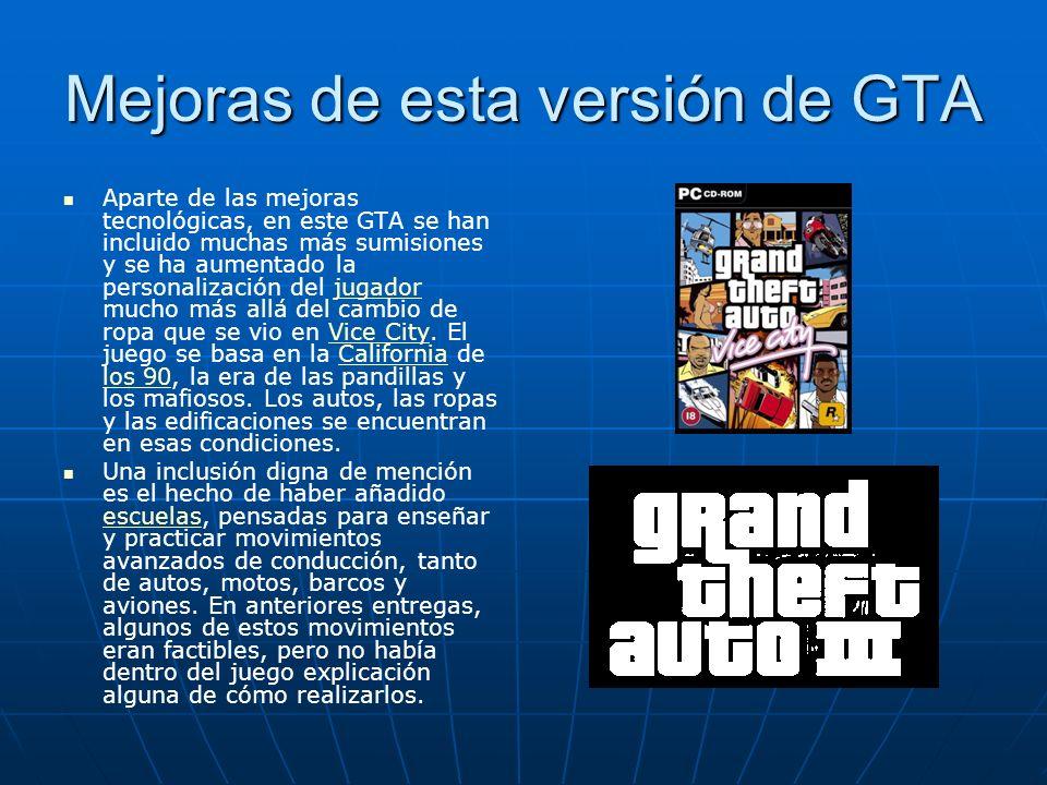Mejoras de esta versión de GTA