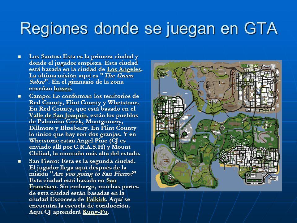Regiones donde se juegan en GTA