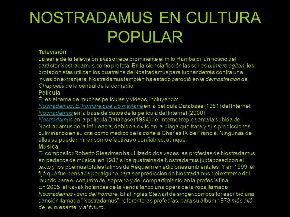 NOSTRADAMUS EN CULTURA POPULAR