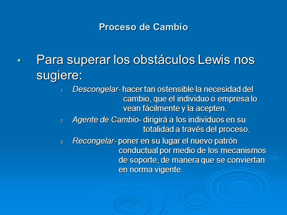 Para superar los obstáculos Lewis nos sugiere: