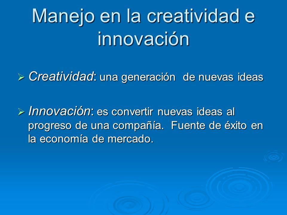 Manejo en la creatividad e innovación