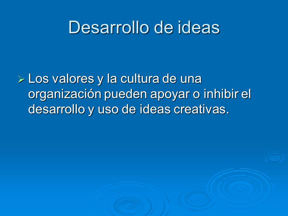 Desarrollo de ideasLos valores y la cultura de una organización pueden apoyar o inhibir el desarrollo y uso de ideas creativas.