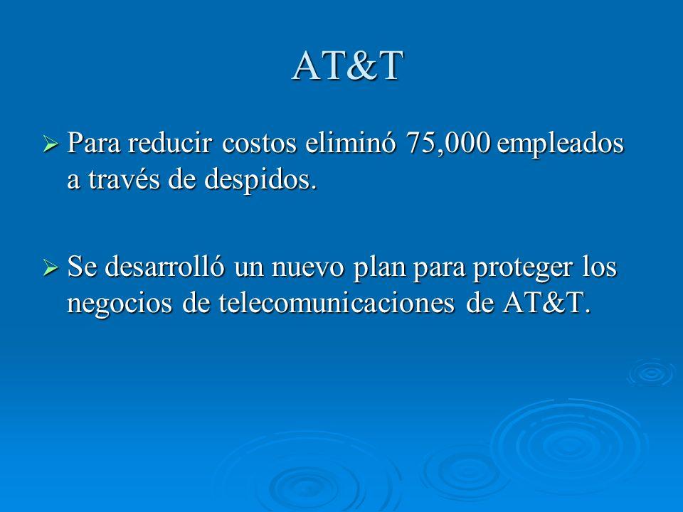 AT&T Para reducir costos eliminó 75,000 empleados a través de despidos.