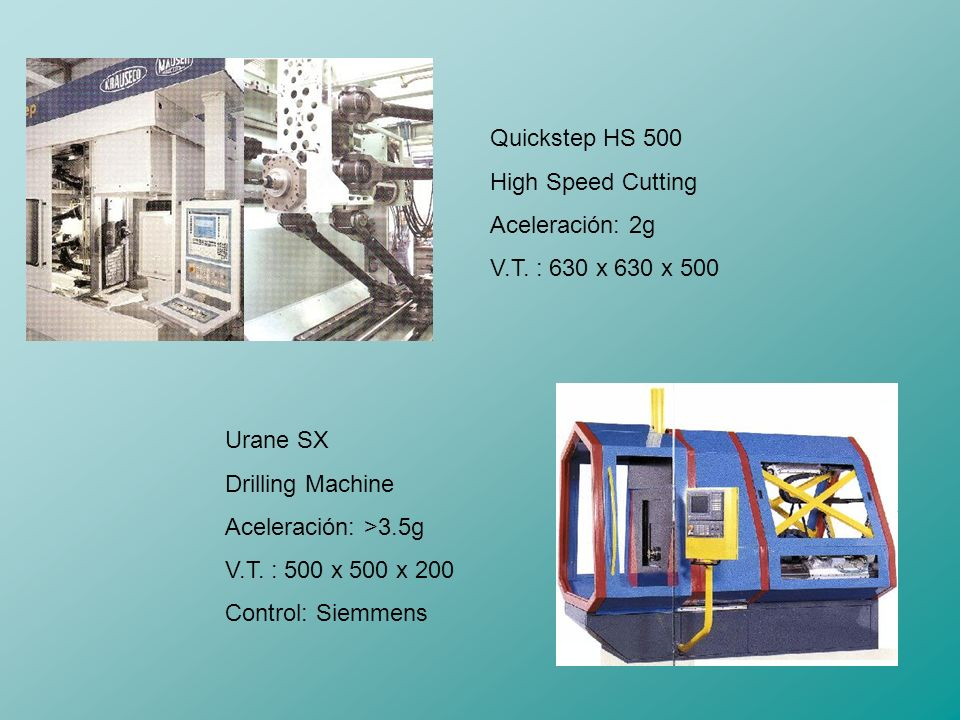 Quickstep HS 500 High Speed Cutting. Aceleración: 2g. V.T. : 630 x 630 x 500. Urane SX. Drilling Machine.