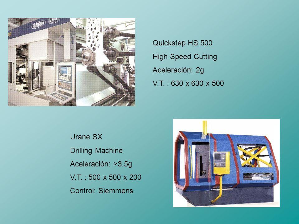 Quickstep HS 500 High Speed Cutting. Aceleración: 2g. V.T. : 630 x 630 x 500. Urane SX. Drilling Machine.