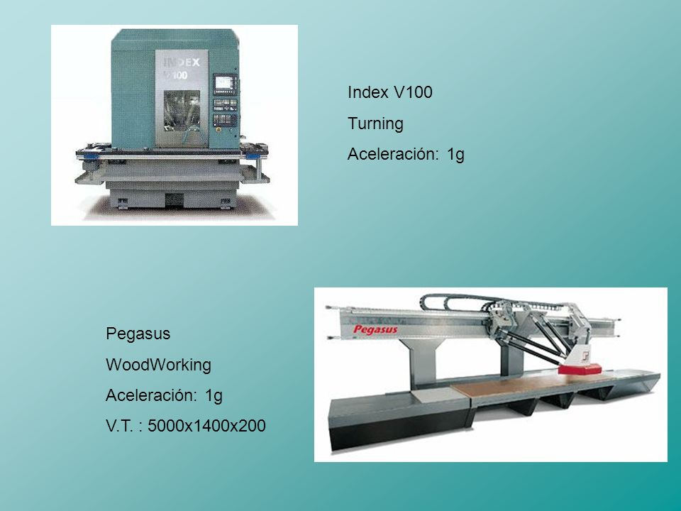 Index V100 Turning Aceleración: 1g Pegasus WoodWorking Aceleración: 1g V.T. : 5000x1400x200