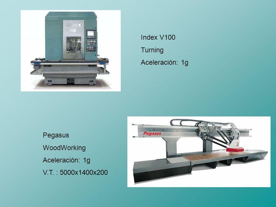 Index V100 Turning Aceleración: 1g Pegasus WoodWorking Aceleración: 1g V.T. : 5000x1400x200