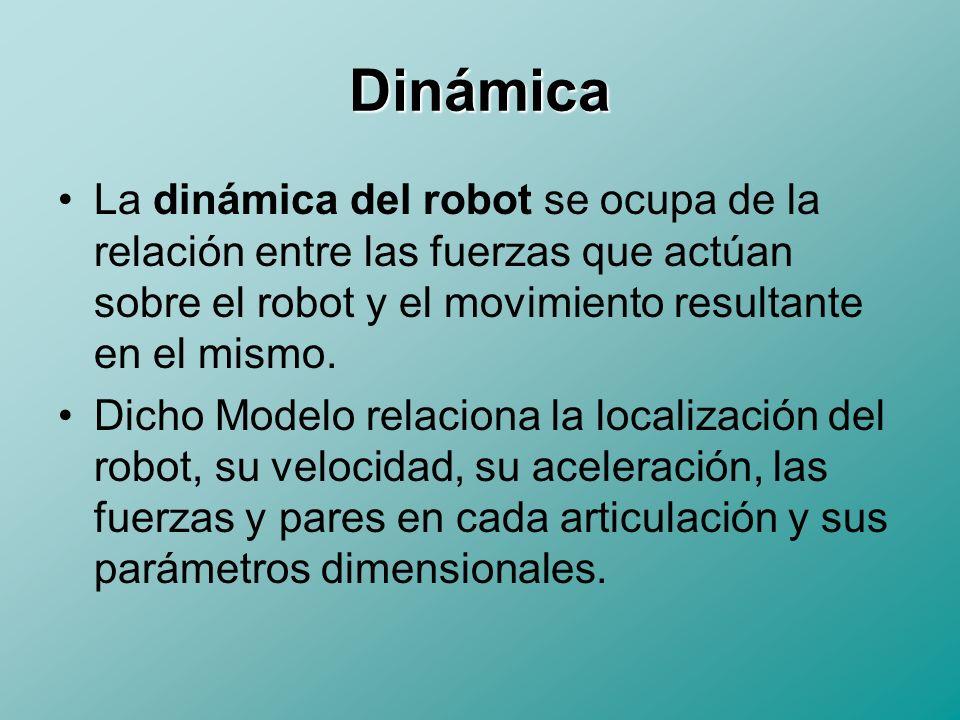 Dinámica La dinámica del robot se ocupa de la relación entre las fuerzas que actúan sobre el robot y el movimiento resultante en el mismo.