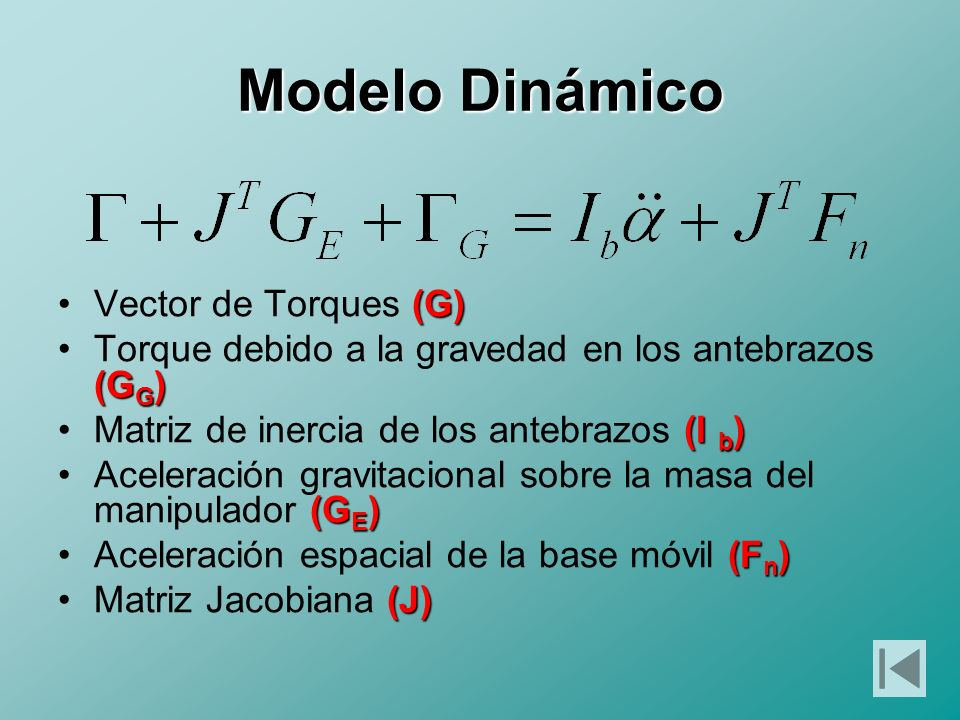 Modelo Dinámico Vector de Torques (G)