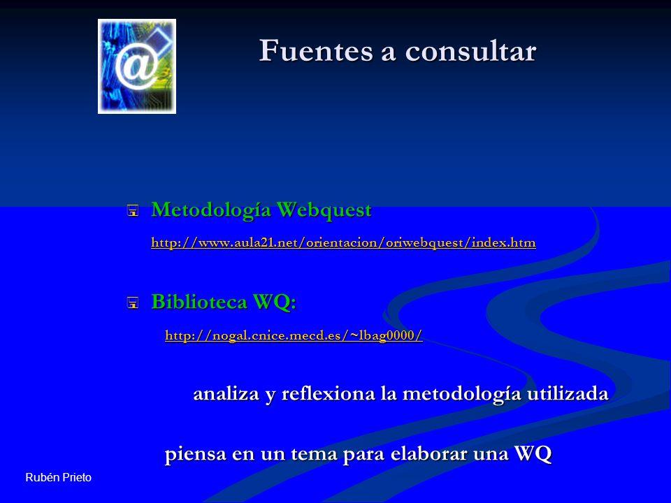 Fuentes a consultar Metodología Webquest http://www.aula21.net/orientacion/oriwebquest/index.htm. Biblioteca WQ: