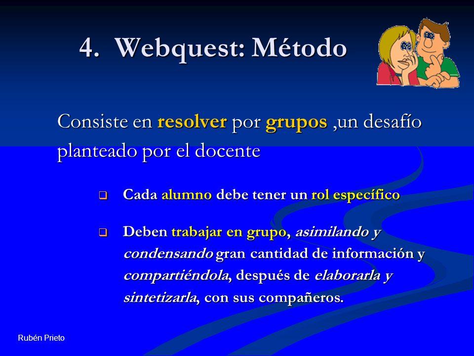 4. Webquest: Método Consiste en resolver por grupos ,un desafío planteado por el docente. Cada alumno debe tener un rol específico.