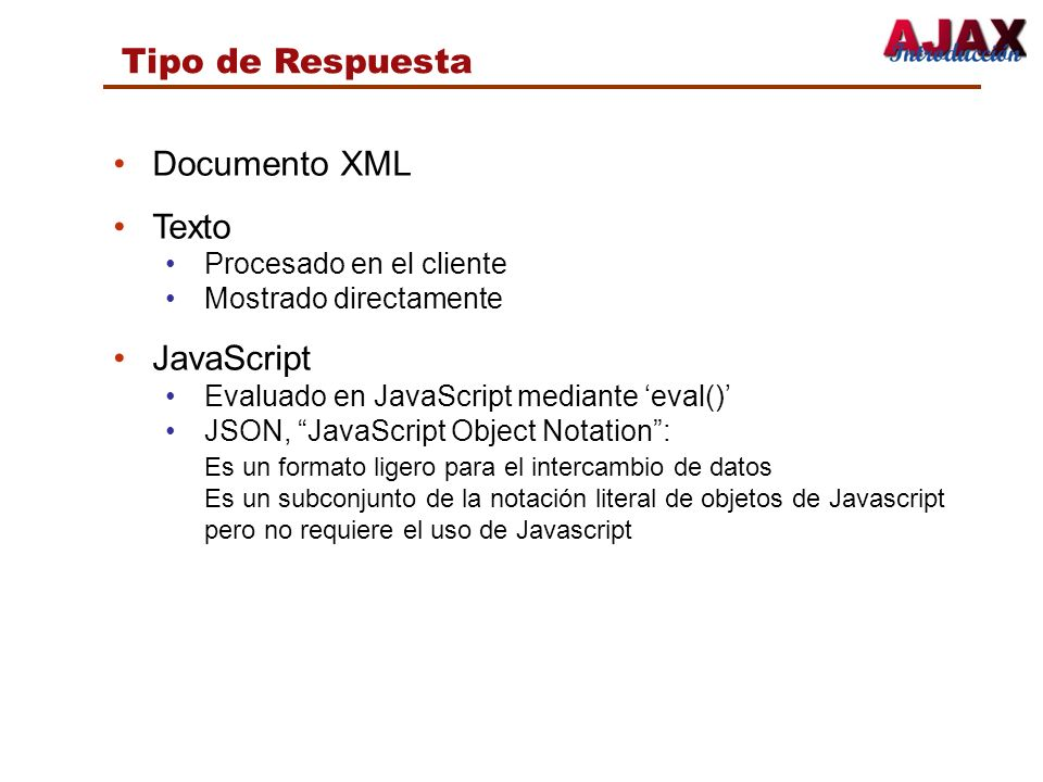 Tipo de Respuesta Documento XML Texto JavaScript
