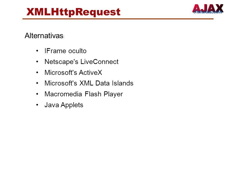 XMLHttpRequest Alternativas: IFrame oculto Netscape s LiveConnect