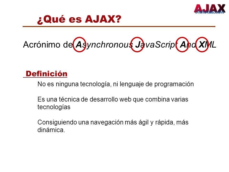 ¿Qué es AJAX Acrónimo de Asynchronous JavaScript And XML Definición