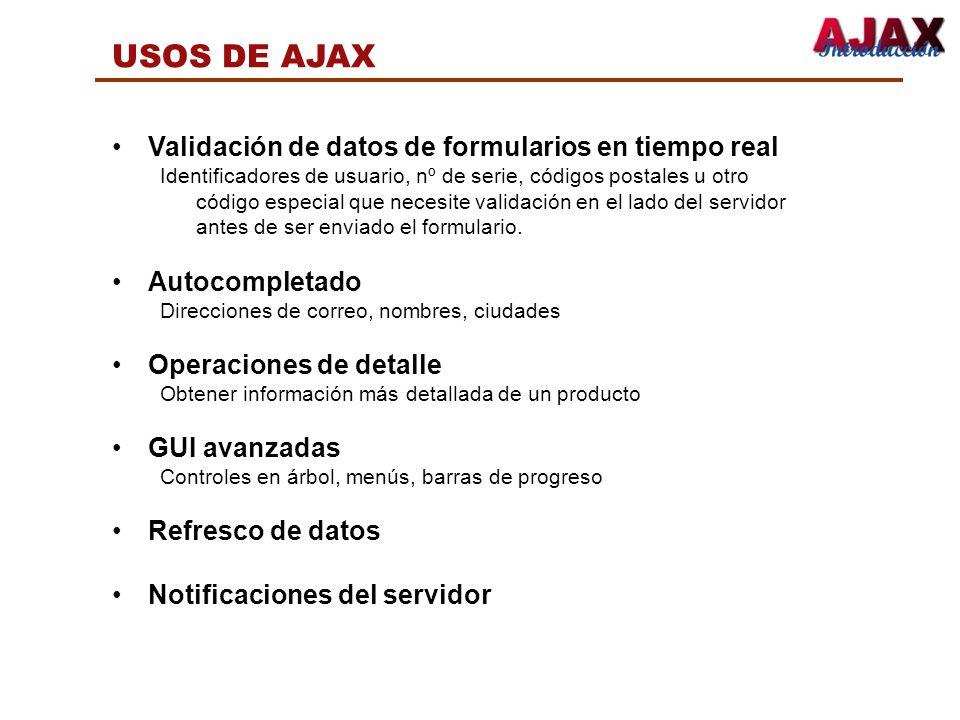 USOS DE AJAX Validación de datos de formularios en tiempo real