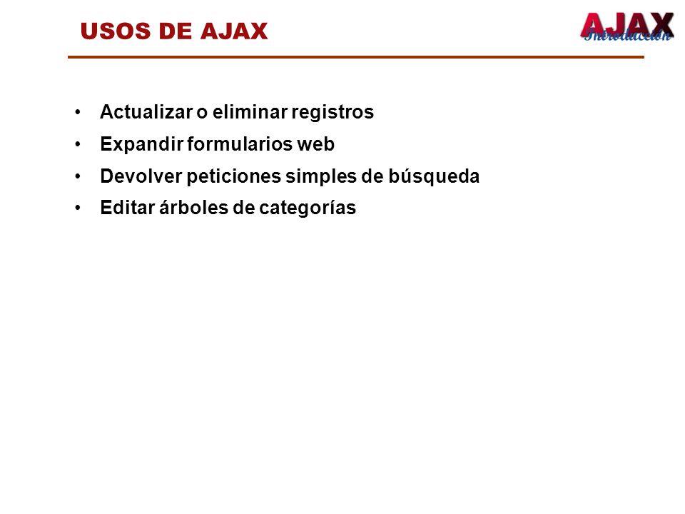 USOS DE AJAX Actualizar o eliminar registros Expandir formularios web