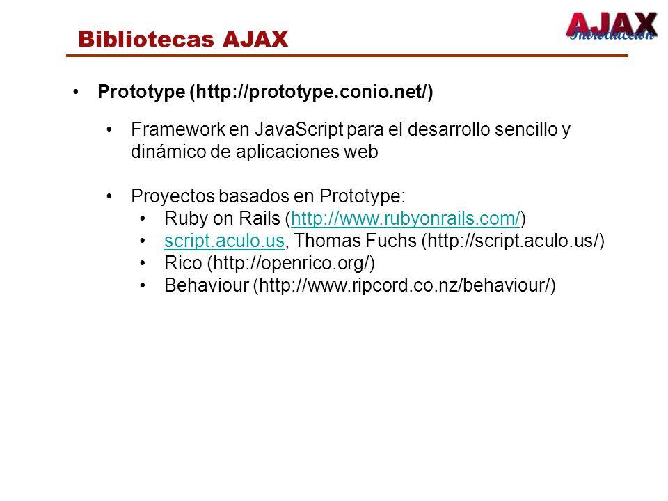 Bibliotecas AJAX Prototype (http://prototype.conio.net/)