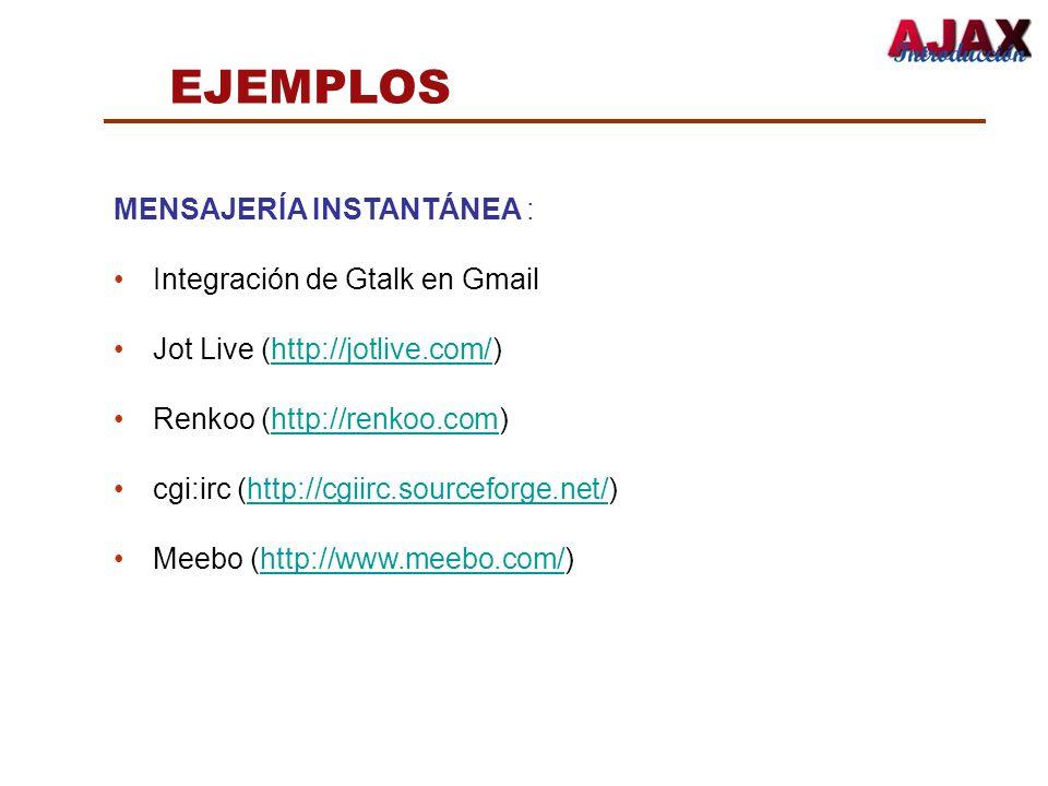 EJEMPLOS MENSAJERÍA INSTANTÁNEA : Integración de Gtalk en Gmail