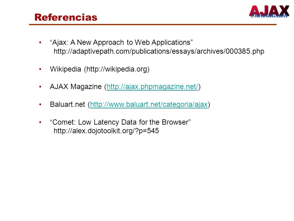 Referencias Ajax: A New Approach to Web Applications