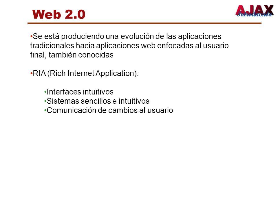 Web 2.0 Se está produciendo una evolución de las aplicaciones tradicionales hacia aplicaciones web enfocadas al usuario final, también conocidas.