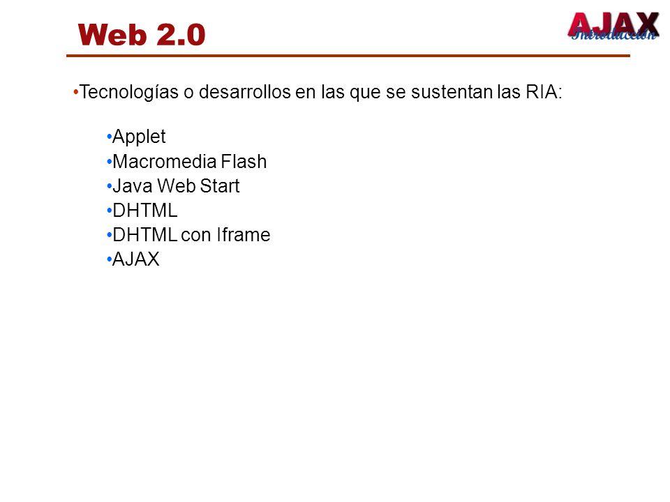 Web 2.0 Tecnologías o desarrollos en las que se sustentan las RIA: