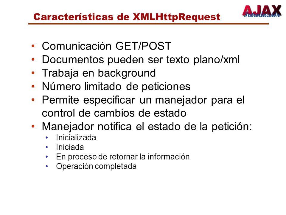 Comunicación GET/POST Documentos pueden ser texto plano/xml