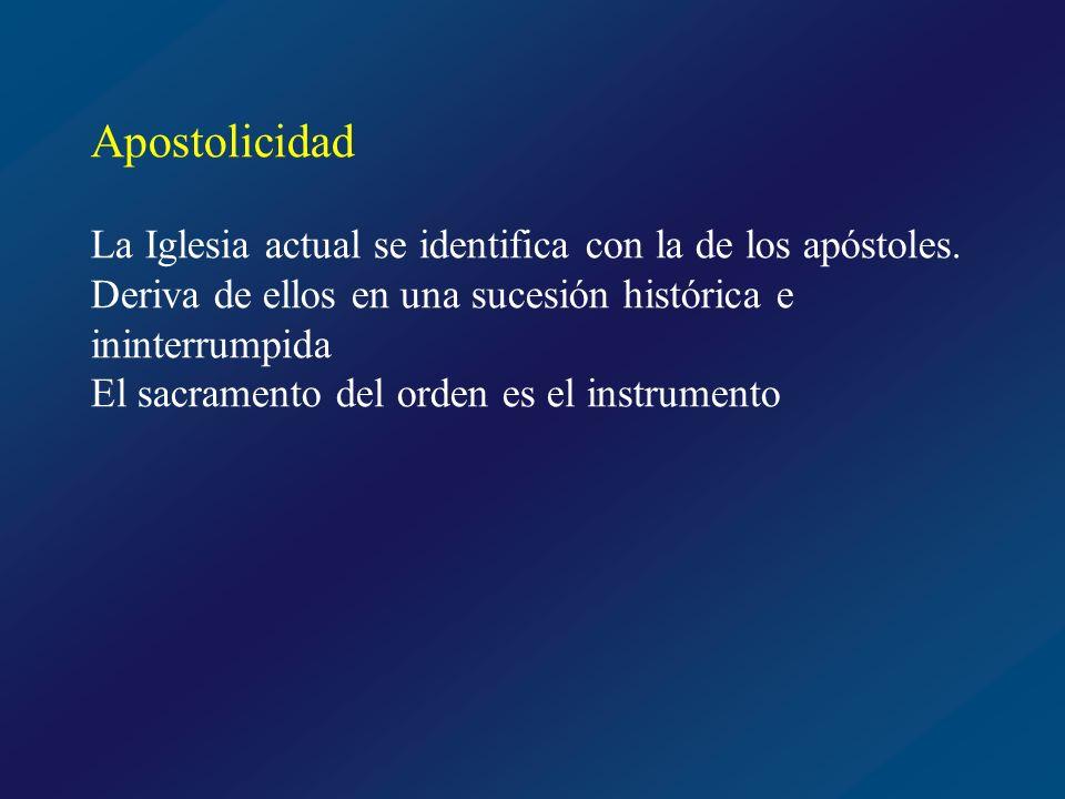 Apostolicidad La Iglesia actual se identifica con la de los apóstoles. Deriva de ellos en una sucesión histórica e ininterrumpida.