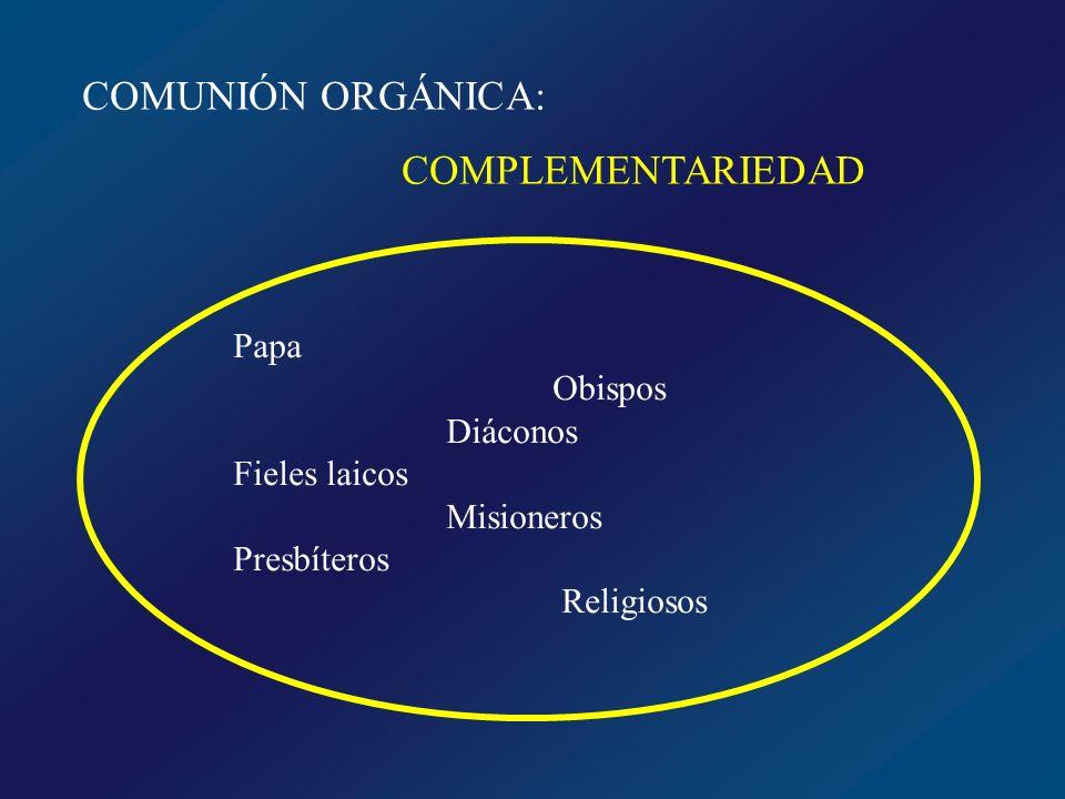 COMUNIÓN ORGÁNICA: COMPLEMENTARIEDAD Papa Obispos Diáconos