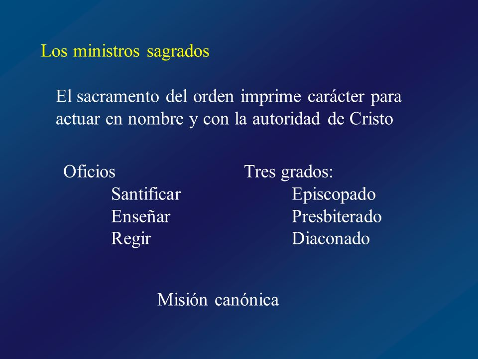 Los ministros sagrados