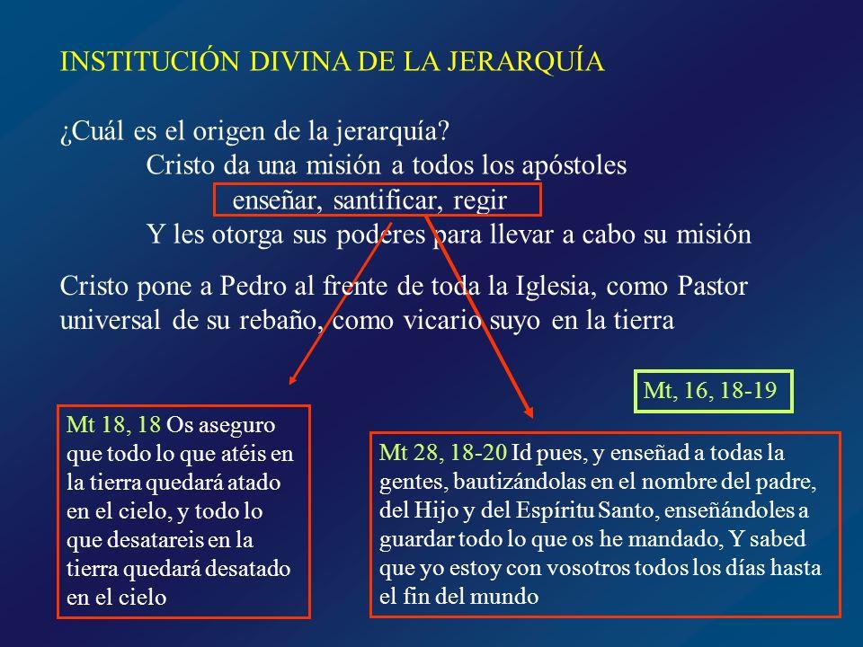 INSTITUCIÓN DIVINA DE LA JERARQUÍA ¿Cuál es el origen de la jerarquía