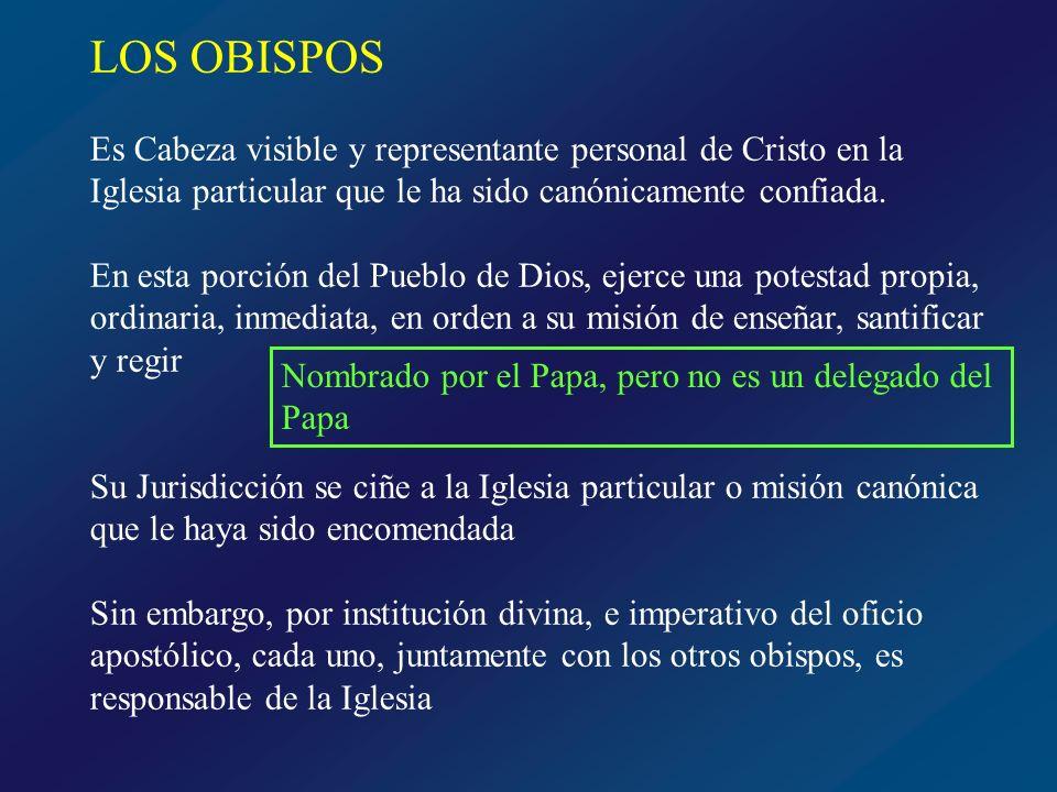 LOS OBISPOS Es Cabeza visible y representante personal de Cristo en la Iglesia particular que le ha sido canónicamente confiada.
