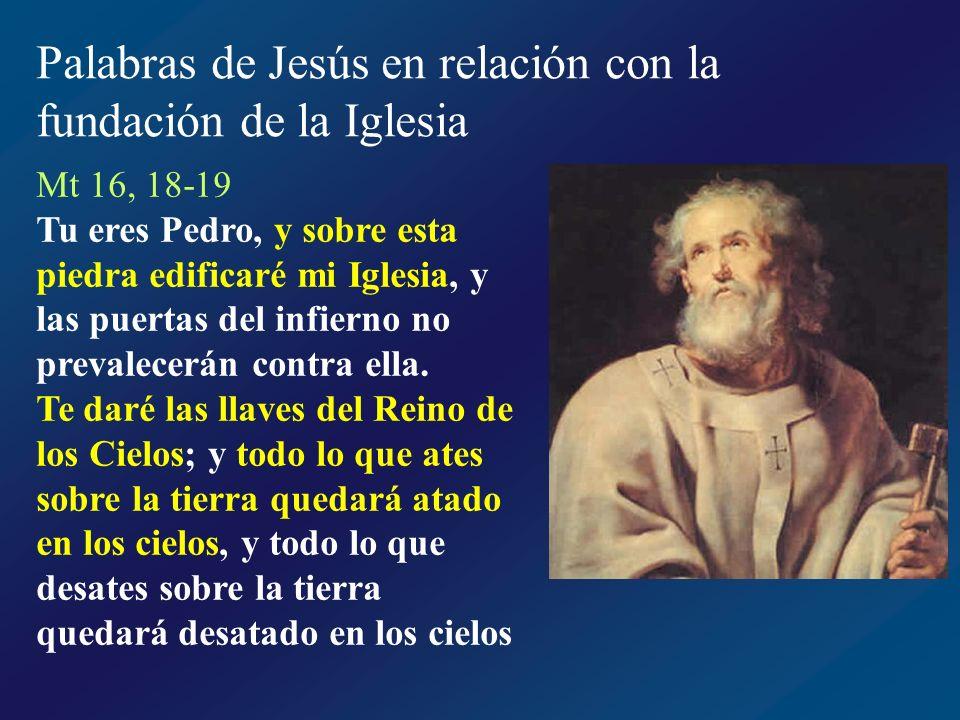 Palabras de Jesús en relación con la fundación de la Iglesia