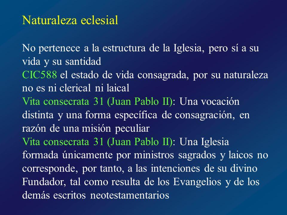 Naturaleza eclesial No pertenece a la estructura de la Iglesia, pero sí a su vida y su santidad.