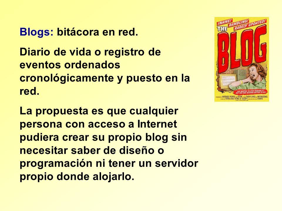 Blogs: bitácora en red. Diario de vida o registro de eventos ordenados cronológicamente y puesto en la red.