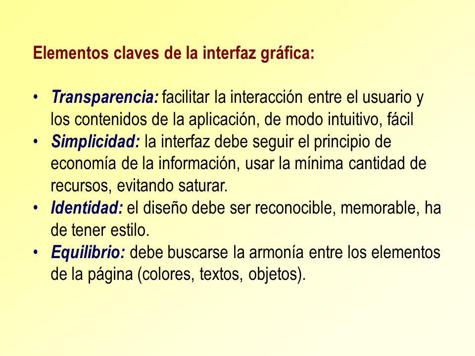 Elementos claves de la interfaz gráfica: