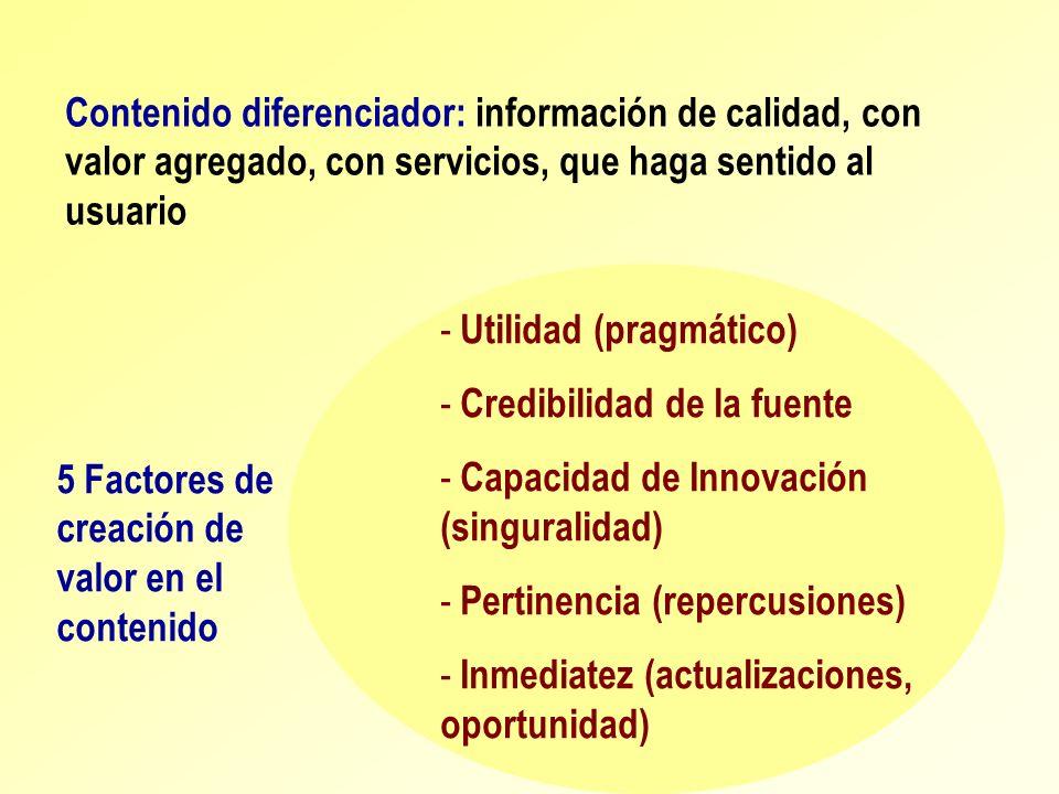 Contenido diferenciador: información de calidad, con valor agregado, con servicios, que haga sentido al usuario