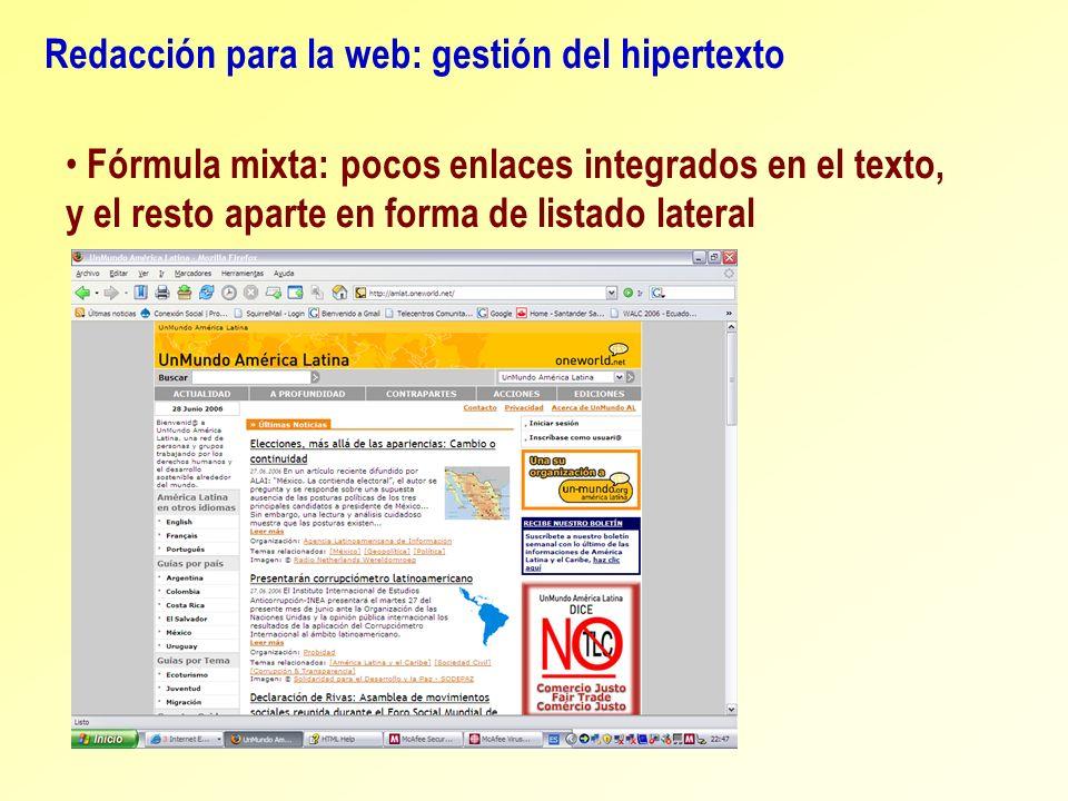 Redacción para la web: gestión del hipertexto