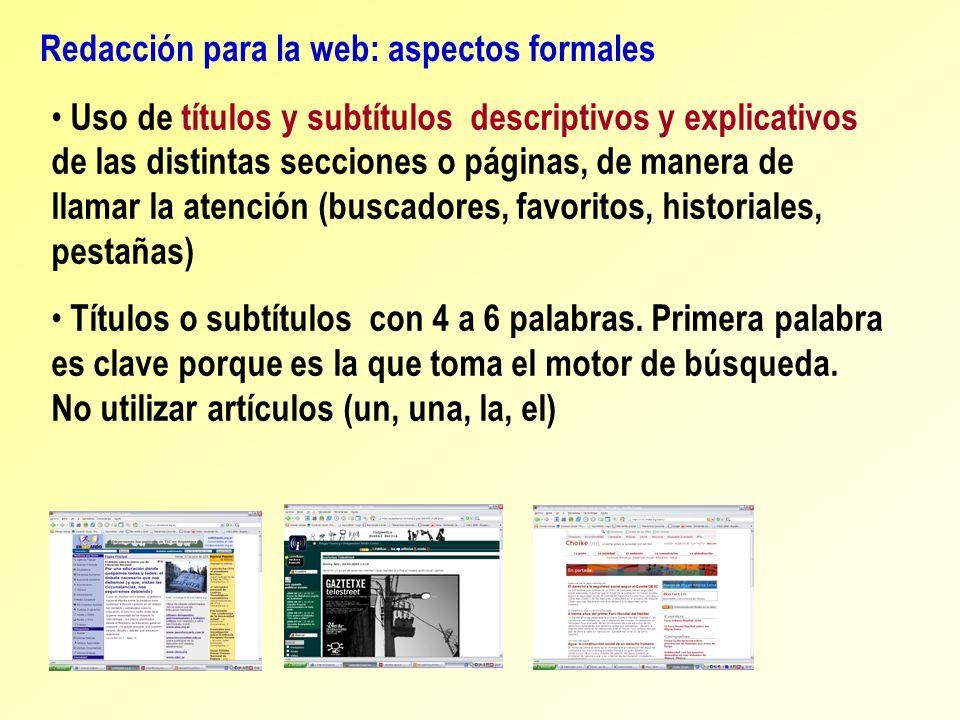 Redacción para la web: aspectos formales