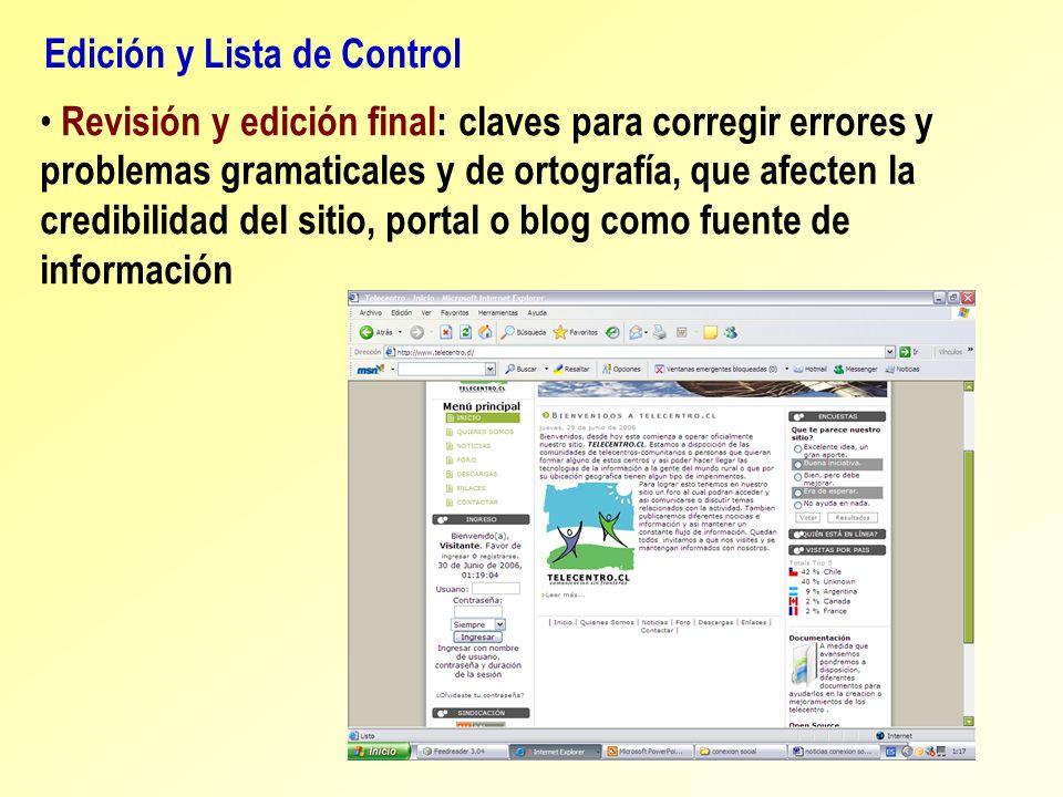 Edición y Lista de Control