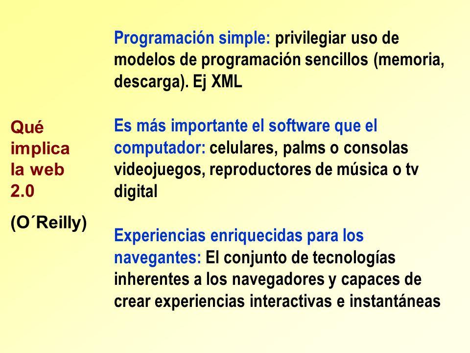 Programación simple: privilegiar uso de modelos de programación sencillos (memoria, descarga). Ej XML