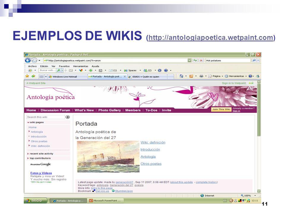 EJEMPLOS DE WIKIS (http://antologiapoetica.wetpaint.com)