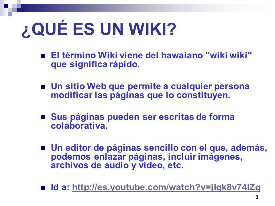 ¿QUÉ ES UN WIKI El término Wiki viene del hawaiano wiki wiki que significa rápido.