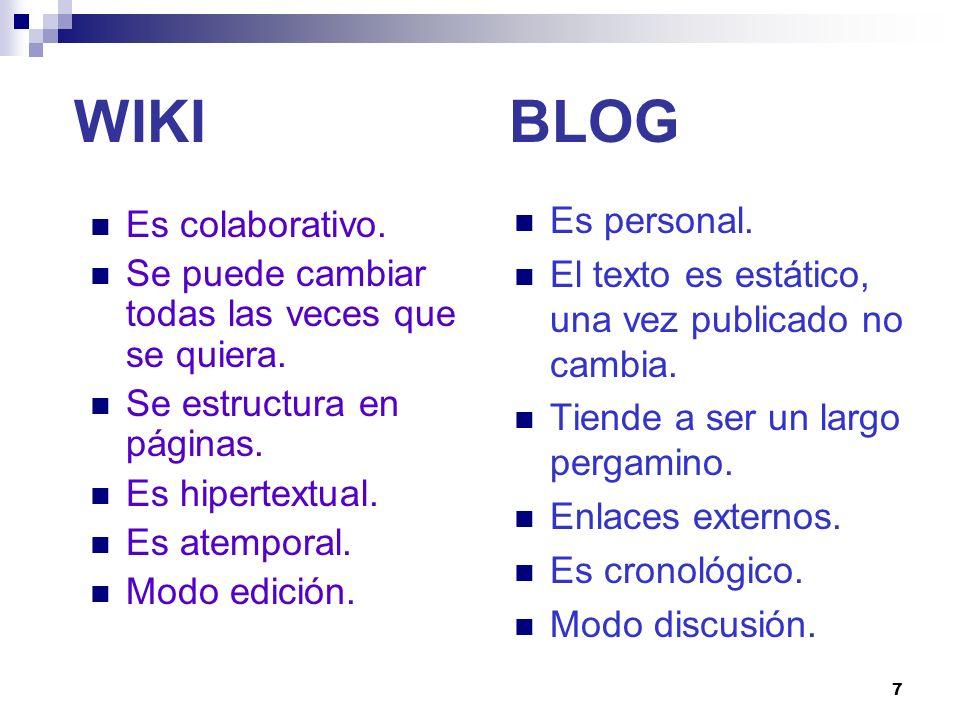 WIKI BLOG Es personal. Es colaborativo.