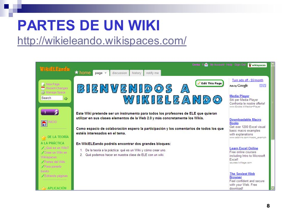PARTES DE UN WIKI http://wikieleando.wikispaces.com/
