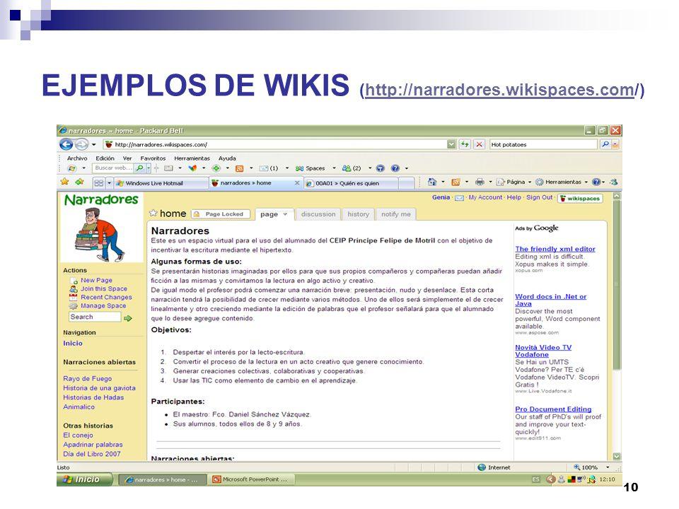EJEMPLOS DE WIKIS (http://narradores.wikispaces.com/)