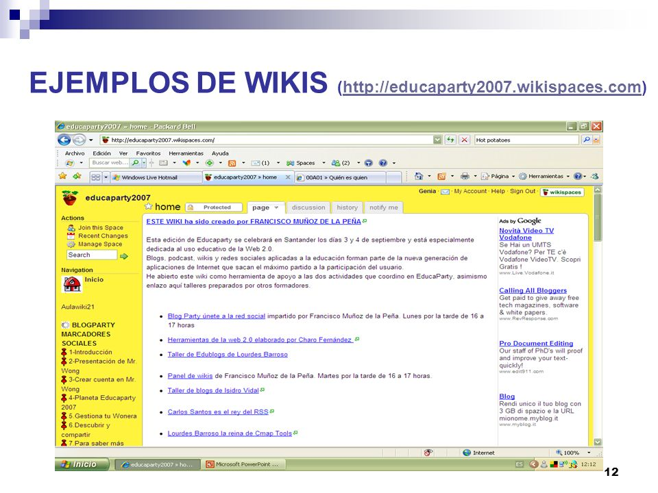 EJEMPLOS DE WIKIS (http://educaparty2007.wikispaces.com)