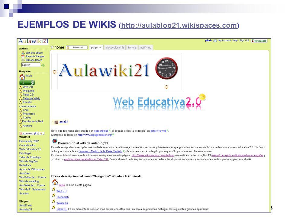 EJEMPLOS DE WIKIS (http://aulablog21.wikispaces.com)