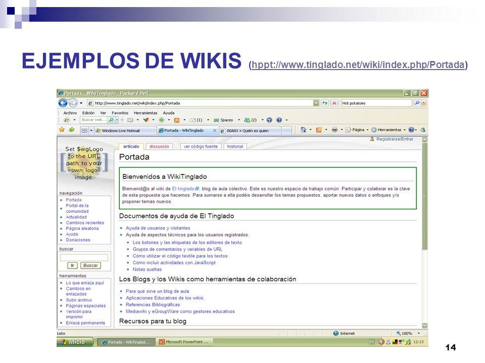 EJEMPLOS DE WIKIS (hppt://www.tinglado.net/wiki/index.php/Portada)